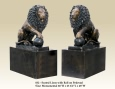 Seated Lions with Ball on Pedestal bronze