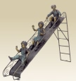 Children on Slide bronze sculpture