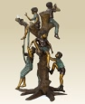 Kids Playing in Tree bronze