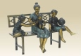 Mother and Children on Bench bronze statue