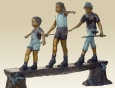 Kids Walking On Bench bronze