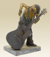 Boy Playing Cello bronze statue