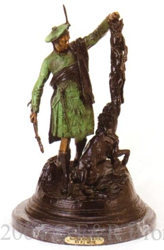 Scottish Hunter With Fox Bronze By Mene