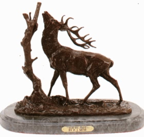 Elk By Tree bronze by Pierre Jules Mene