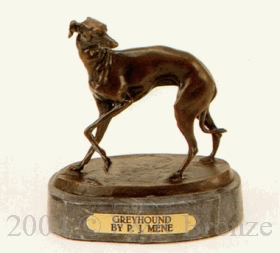 Greyhound bronze sculpture by Pierre Jules Mene