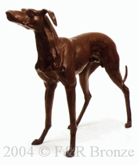 Greyhound bronze statue by Pierre Mene