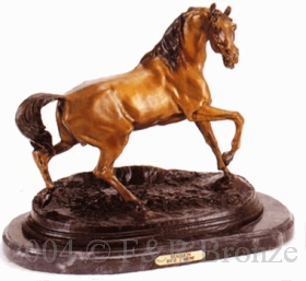 Stallion bronze statue by Pierre Jules Mene