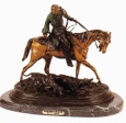 Mounted Hunter with Two Hounds bronze statue