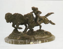 Buffalo Hunt bronze inspired by Remington