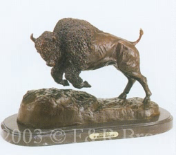 Buffalo bronze inspired by Frederic Remington