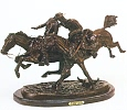 Wounded Bunkie Bronze Statue by Frederic Remington