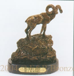 Big Horn Sheep Bronze statue by Charles Russell