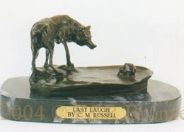 Last Laugh bronze by Charles Russell