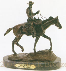 Will Rogers bronze statue by Charles Russell