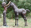 Girl and Her Foal Bronze