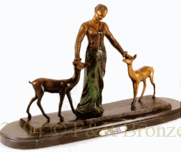Deer Lady bronze statue by Chiparus