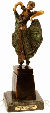 Dancer with Raised Skirt bronze by Chiparus