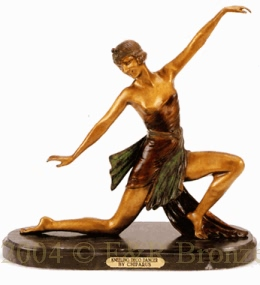 Kneeling Deco Dancer bronz statue by Chiparus