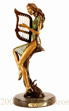 Lady with Harp bronze sculpture by Chiparus