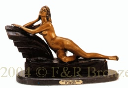 Reclining Nude Girl bronze statue by Chiparus