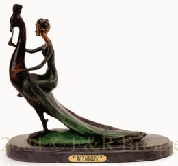 Woman On Peacock bronze by Chiparus