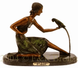 Woman with Parrot bronze sculpture bu Chiparus