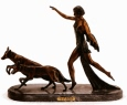 Diane and the Wolves bronze by Chiparus