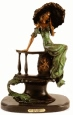 Lady with Umbrella bronze statue by Icart