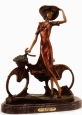 The Bicycle Spring Time bronze statue by Icart