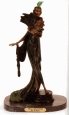 Deco Girl with Fan bronze sculpture by Icart