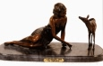 Lady Feeding Deer bronze by Demetre Chiparus