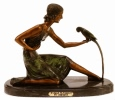 Woman With Parrot bronze sculpture by Chiparus