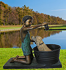 Boy Washing Dog Sculpture