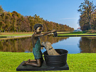 Boy Washing Dog Children bronze statue