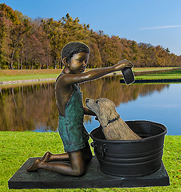 Boy Washing Dog Bronze Statue