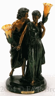 Country Lovers bronze statue lamp