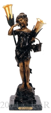 Girl With Basket bronze statue lamp by Auguste Moreau
