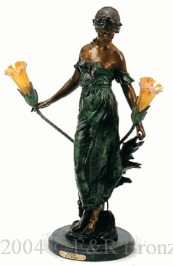 Maiden bronze lampy by Auguste Moreau