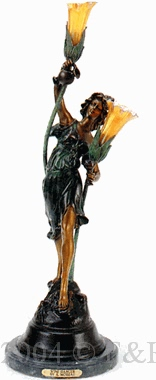 Wine Dancer bronze lamp by Auguste Moreau