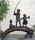 Kids Fishing on Log bronze sculpture