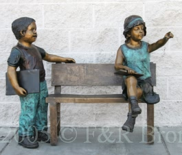 Waiting for the School bus bronze