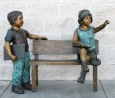 Waiting for School bronze sculpture