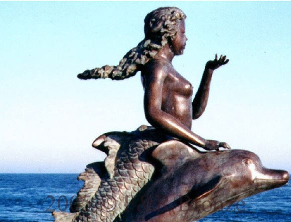 Mermaid Riding Two Dolphins bronze