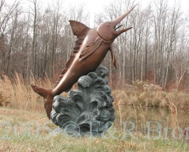 Single Marlin bronze statue fountain