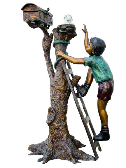 Mail Box Boy with Dove bronze