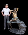 Nude Girl Seated On Rock bronze sculpture fountain