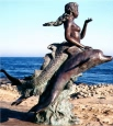 Mermaid Riding Two Dolphins bronze fountain