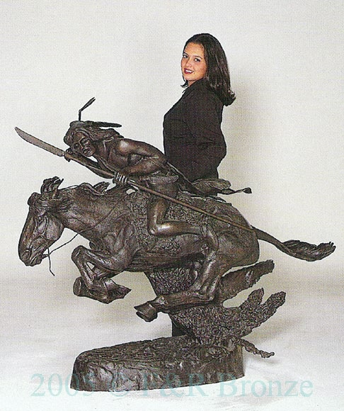 monumental cheyenne bronze sculpture