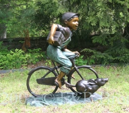 Bicycle Boy Bronze Statue