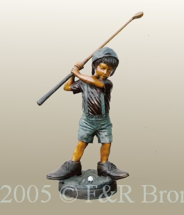 Boy Playing Golf bronze statue by Turner